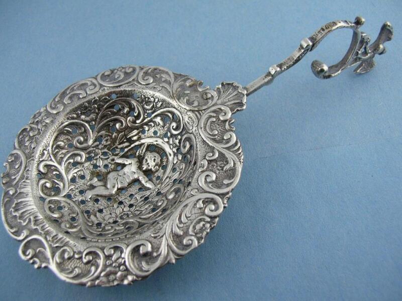 Wonderful 800 Silver Hanau Germany MONKEY SPOON Elaborate Cherub / Putti Bowl
