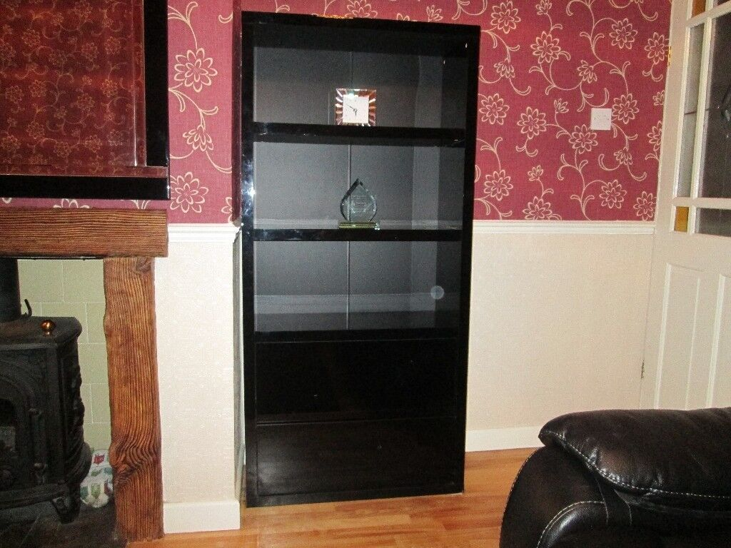 Black High Gloss Next Bookcase with 2 Shelves and 2 Drawers