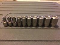 Snap On blue Point 1/4dr shallow Sockets 4-13mm