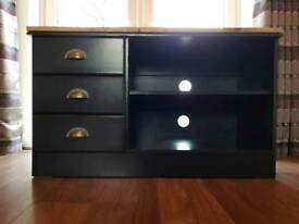 Upcycled Tv/Media Cabinet Finished In Farrow & Ball Black Blue Eggshell