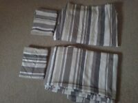 2 x single duvet covers, pillowcases, stripped beige modern design + fitted sheets