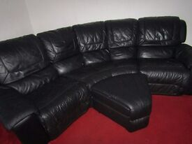 LARGE DFS BLACK LEATHER 5 SEATER SOFA