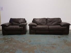 DARK BROWN ITALIAN LEATHER SUITE MADE BY ITALSOFA 3 SEATER SOFA SETTEE & ARMCHAIR DELIVERY AVAILABLE
