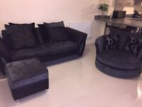 Black Sofa Set & Ottoman Footstool for sale! Brand New!