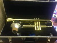 Trumpet (B&H 400) with Harmon mute, music book and foldable stand