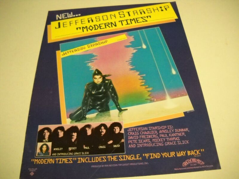 JEFFERSON STARSHIP Modern Times is new.... 1981 PROMO POSTER AD