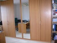 Wardrobe with glass fronted drawes