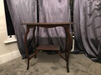 Dark wood vintage table with curved legs. Free to collect.