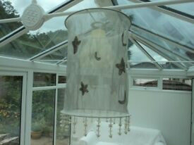 ATTRACTIVE FABRIC LAMPSHADE - LIGHT GREY COLOUR. LIGHT FITTING. LAMP SHADE.