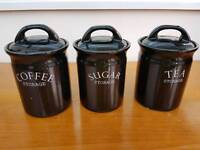 Set of black pottery coffee + tea + sugar storage canisters!