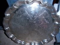 Large Round Silver Plated Salver/Tray