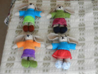 4 New Hand Knitted Rabbits
