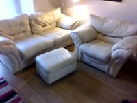 Leather settee 2/3 seater , 1 armchair and footstool.