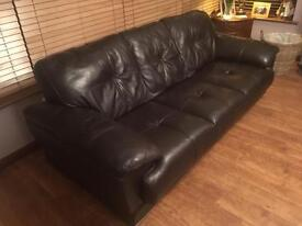 Large Dark Brown Leather Sofa With Matching 2 Seater Sofa, 1 Chair + Footstool