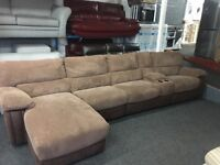New/Ex Display Arlington Double Recliner Group With Chaise & Media Tray