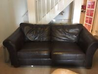 Marks and Spencer Brown Leather Sofa with pull out bed