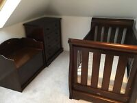 Boori 3 in 1 Sleigh Cot Bed with matching 4 Drawer Chest and Toy Box in Dark Wood