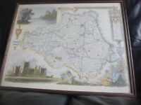 Framed old-style map of County Durham