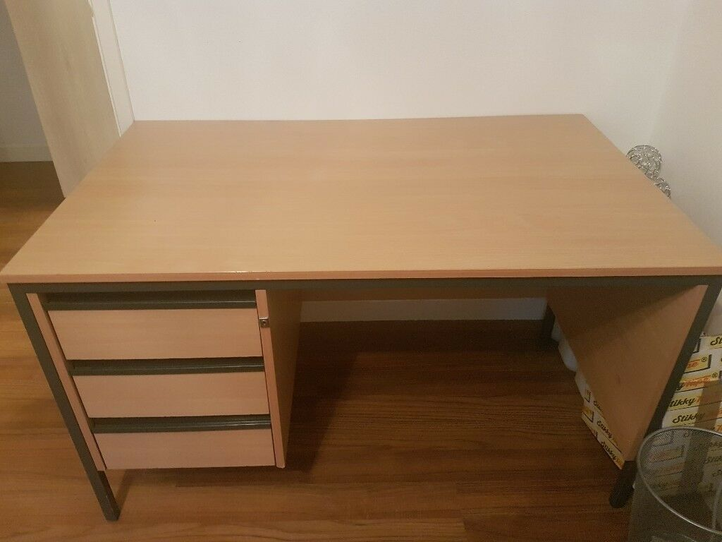 Desk With 3 Side Drawers