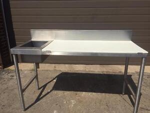 Commercial Stainless steel table with sink and poli cutting board