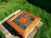 Gorgeous mango wood side table with slate inserts