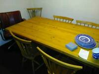 Pine table with 6 matching chairs