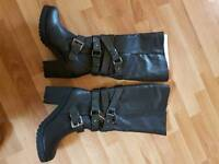 Wide Fit Black Knee High Boots size 7