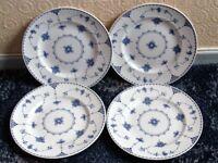 "4 Beautiful Johnson Bros. ""Blue Dennmark"" Dinner Plates"