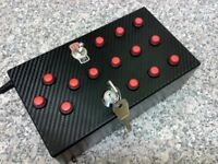16 Function USB Push button / ignition key switch box for PC racing / flight sims.