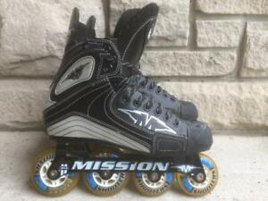 Mission Inline Skates (Rollerblades) Hi/Lo Chassis 72mm/80mm Size 8D (9 to 9.5 Shoe Size