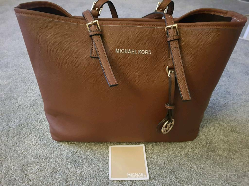 4c967e87d22 Michael Kors - Jet Set Travel Saffiano Tote Bag Handbag Brown   in ...