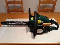 B & Q petrol chainsaw -TRY38PCSA-with Oregon Bar.