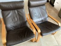 2 x Poang Brown leather chairs
