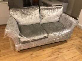 3 Seater Sofa in grey crushed velvet