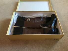 Brand New unworn Michael Kors Leather black and mocha Boots