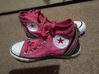 Pink Hi Top zips Converse