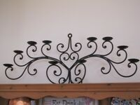 Large Black Ornate Wrought Steel Candelabra