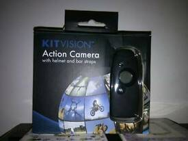 KITvision Action Camera with helmet strap and handlebar mount