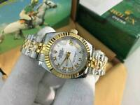 New Swiss Ladies Rolex Oyster Datejust Perpetual Automatic Watch, white dial two tone