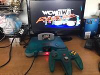 N64 Nintendo 64 ice blue & clear console ltd edition funtastic
