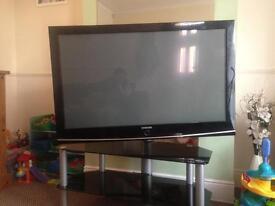 "Samsung 55"" plasma tv with glass stand"