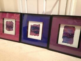 3 x Pictures Original Textile Artwork In Frame 52 x 52 cm pink/ purple/ blue