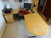 Ikea corner desk, filing and drawer cabinet and tower holder very good condition