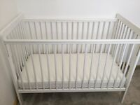 John Lewis brand new cot with new mattress white wood