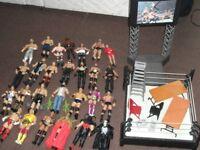 Wrestling figures collection in vgc (27) includes wrestling ring and accessories