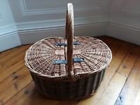 Wicker Picnic Basket with Leather Straps