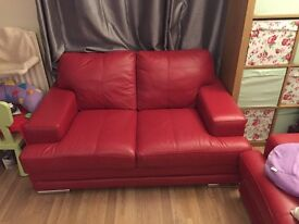 Beautiful red Italian leather sofa's 2 & 3 seater for sale. Very good used condition.