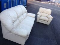White leather sofas Pack. FREE DELIVERY BRISTOL AREA.