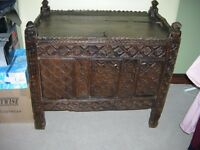 antique furniture wedding chest?possibly from india, belived oak,