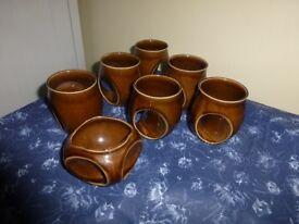 retro brown Holkham pottery owl design 6 mugs 1 sugar bowl